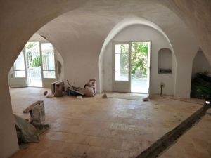 Inside during renovations at Le Domain de Monteils in Languedoc, France