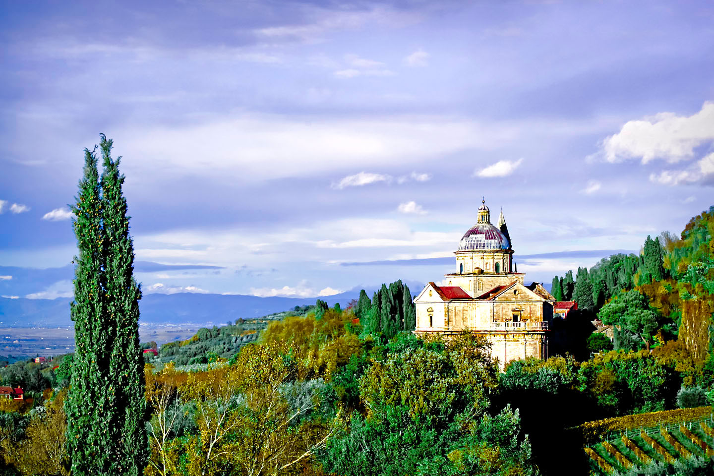 Church in the hills leading to Montepulciano
