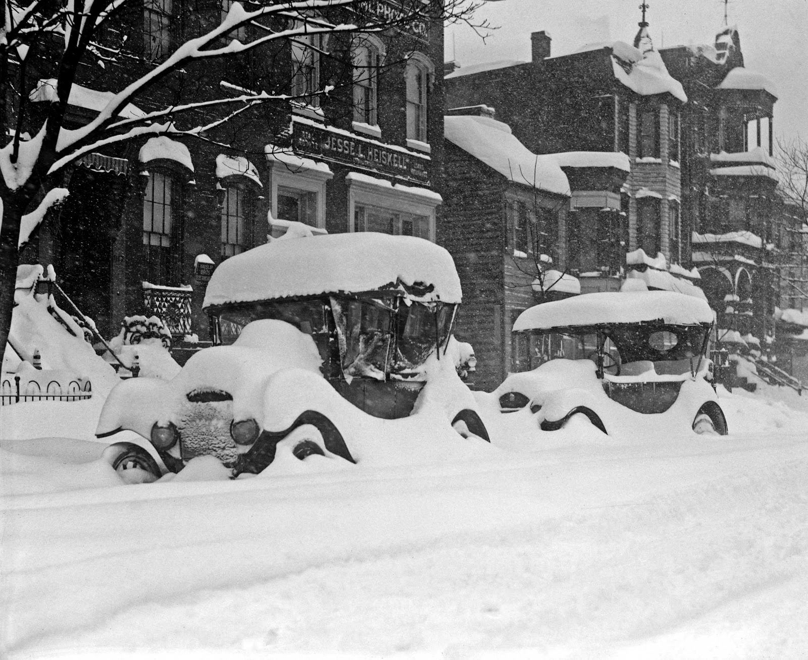 Automobiles Buried in Snow circa 1922