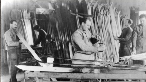 Four Anes Brothers making wooden skis in their Norwegian ski factory.