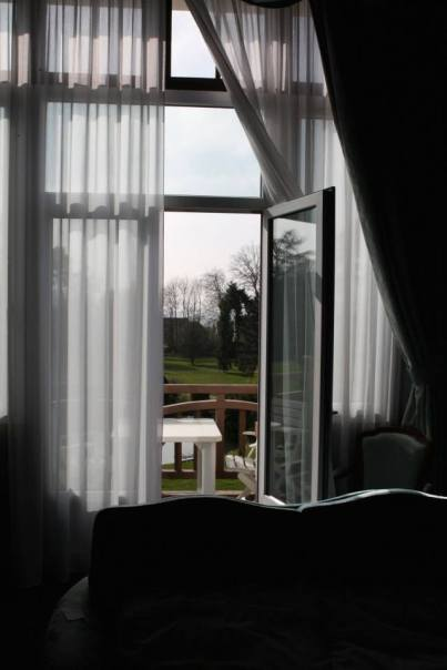 Looking out through the windows at Chateau des Bondons