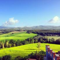 Views of Tuscany hills from Montalto Castle