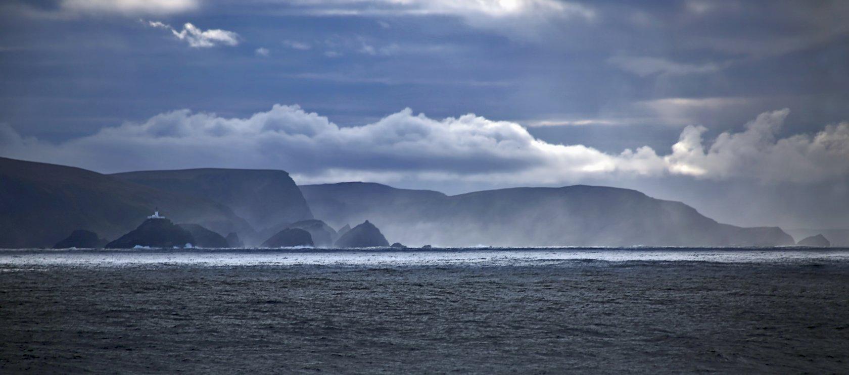 The coastline of the Shetland Islands of Scotland