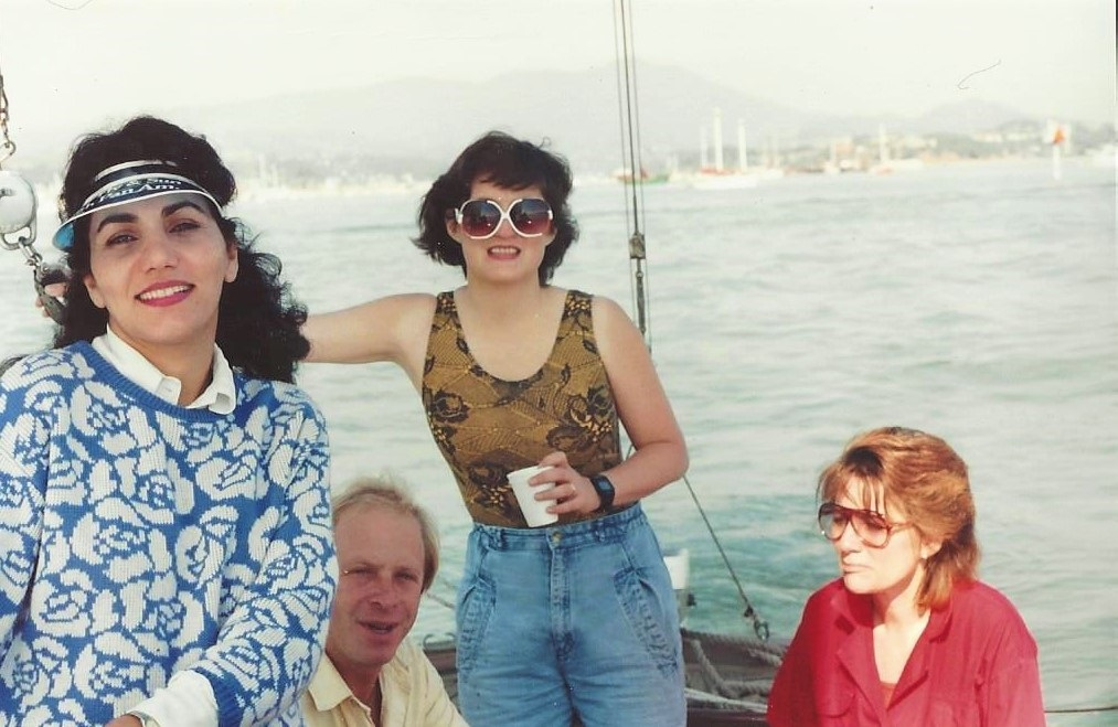 "Taking a boat ride in San Francisco Bay. I am the one with the ""Bug Glasses""."