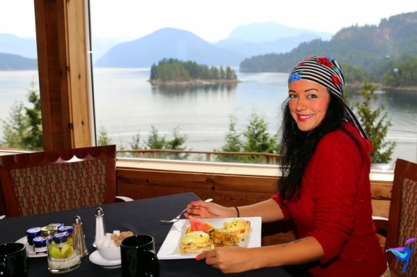 Anna enjoying breakfast and amazing views