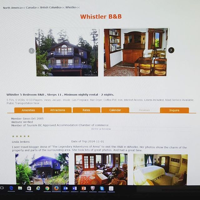 Screenshot of Whistler B&B property with new review & photo function.