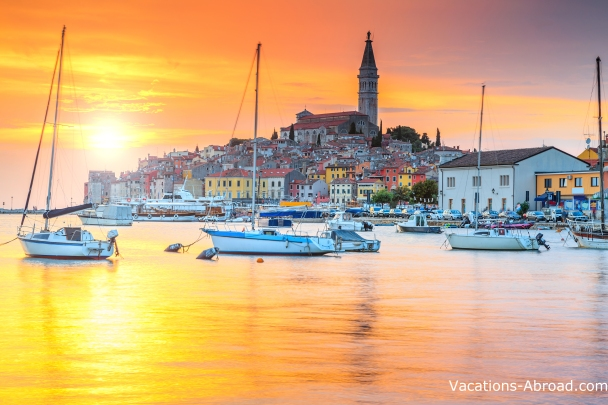 The village of Rovinj Croatia along the Istra Peninsula.